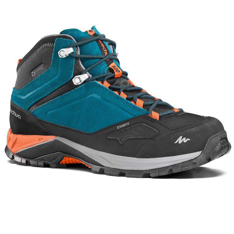 Men's waterproof mountain walking boots Mid MH500 – Blue/Orange