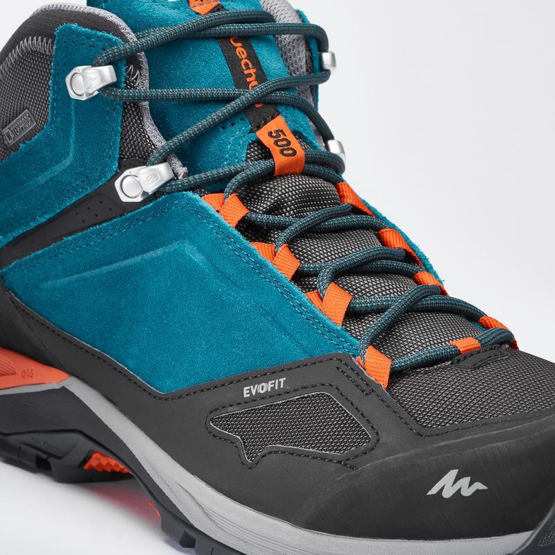 Men's Hiking Shoe MH500 (Waterproof) - Blue/Orange