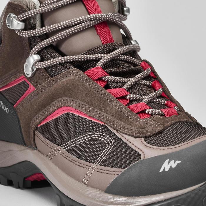 女款中筒防水登山健行鞋NH100-棕色