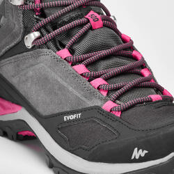 女款中筒防水登山健行鞋MH500-粉紅色/灰色