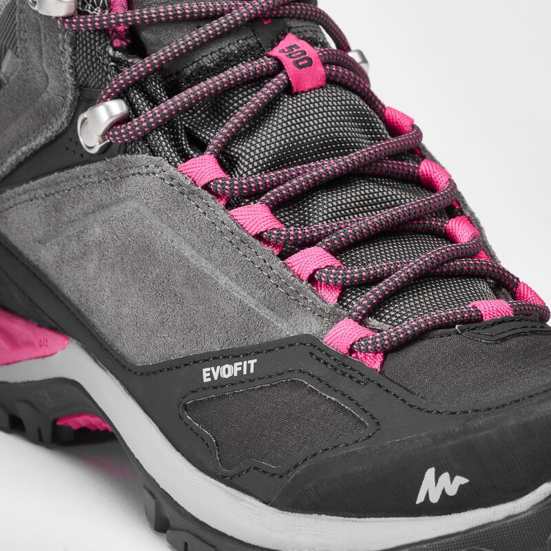 Women's Mountain Hiking waterproof shoes - MH500 Mid -Pink/Grey