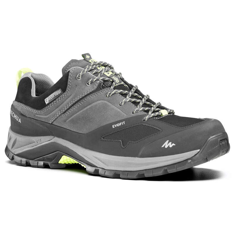 MEN MOUNTAIN HIKING SHOES Hiking - MH500 Mens Waterproof Walking Shoes - Grey QUECHUA - Outdoor Shoes