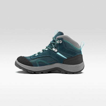 Women's waterproof mountain walking boots - MH100 Mid - Turquoise