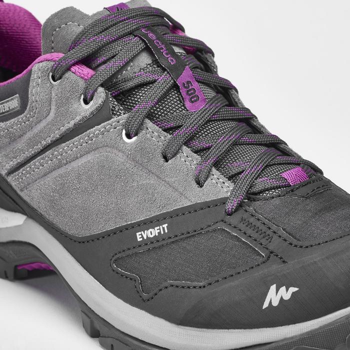 女款防水登山健行鞋MH100-灰紫配色