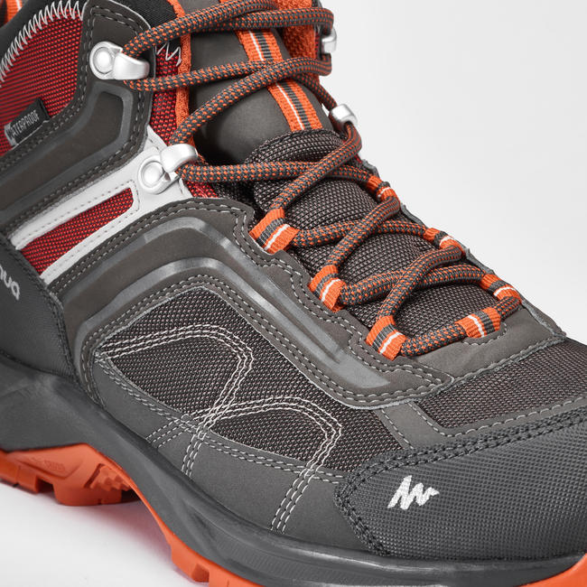 Men's Hiking Shoes (Mid Ankle) MH100 Waterproof - Grey/Orange