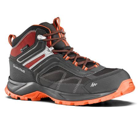 Men's Mountain Hiking Waterproof Shoes MH100 Mid – Grey Orange