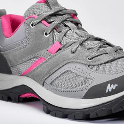 女款登山健行鞋MH100-灰色/粉紅色