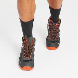 Botas de senderismo montaña hombre MH100 Mid impermeables gris naranja