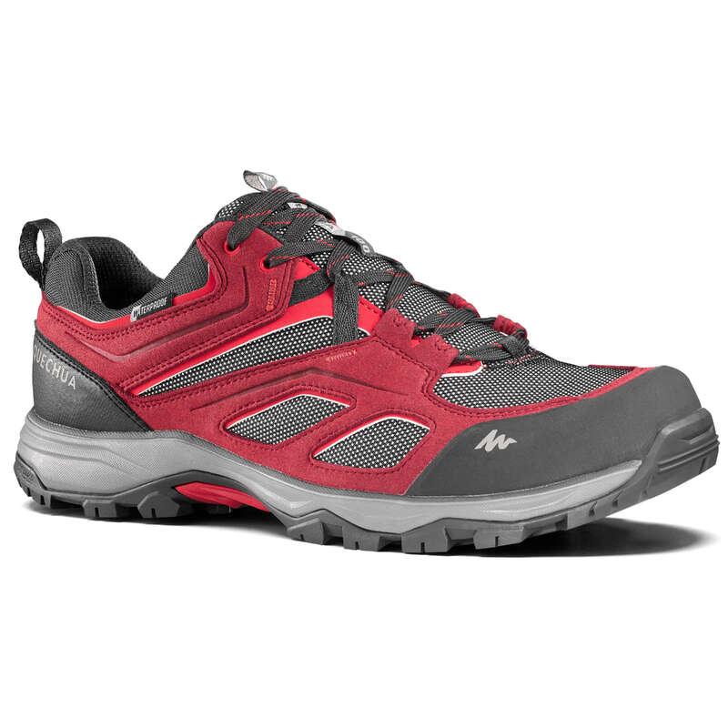 MEN MOUNTAIN HIKING SHOES Hiking - M Waterproof Shoes MH100 - Red QUECHUA - Outdoor Shoes