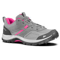 Women's mountain walking shoes - MH100 - Grey/Pink