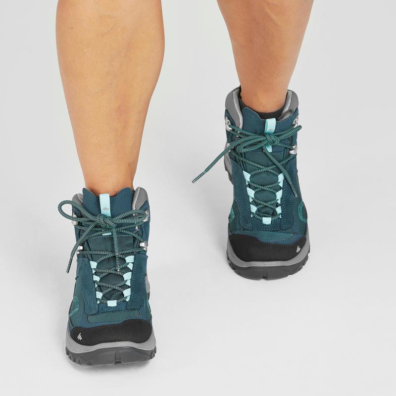 Botas de senderismo montaña mujer MH100 Mid impermeables azul turquesa
