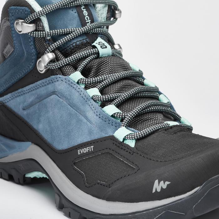 Botas de senderismo de montaña mujer MH500 Mid Impermeables Azul