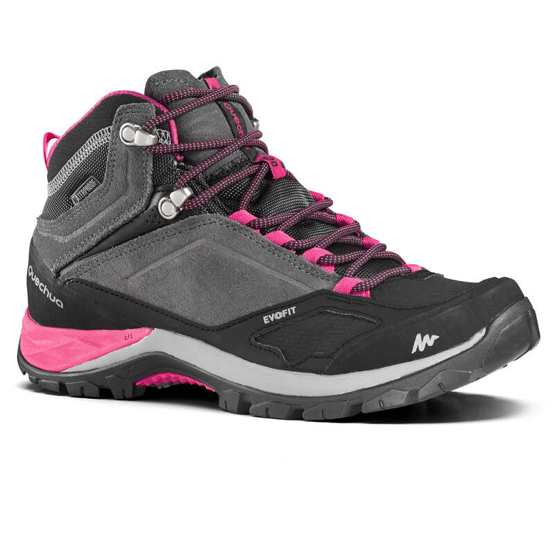 WOMEN MOUNTAIN HIKING SHOES Hiking - MH500 Mid Womens Waterproof Walking Boots - Grey/Pink  QUECHUA - Outdoor Shoes