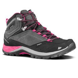 女性中筒防水山區健行運動靴 MH500 Mid - 灰色/粉紅