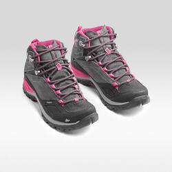 Women's waterproof mountain hiking shoes - MH500 Mid - Pink/Grey