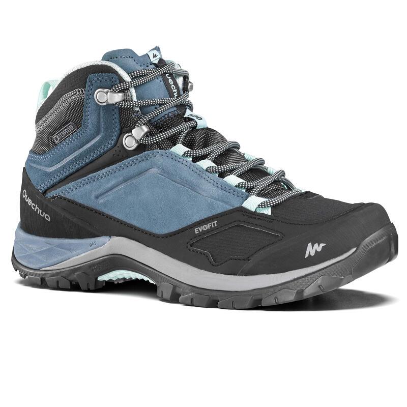 Women's waterproof mountain walking boots - MH500 Mid - Blue
