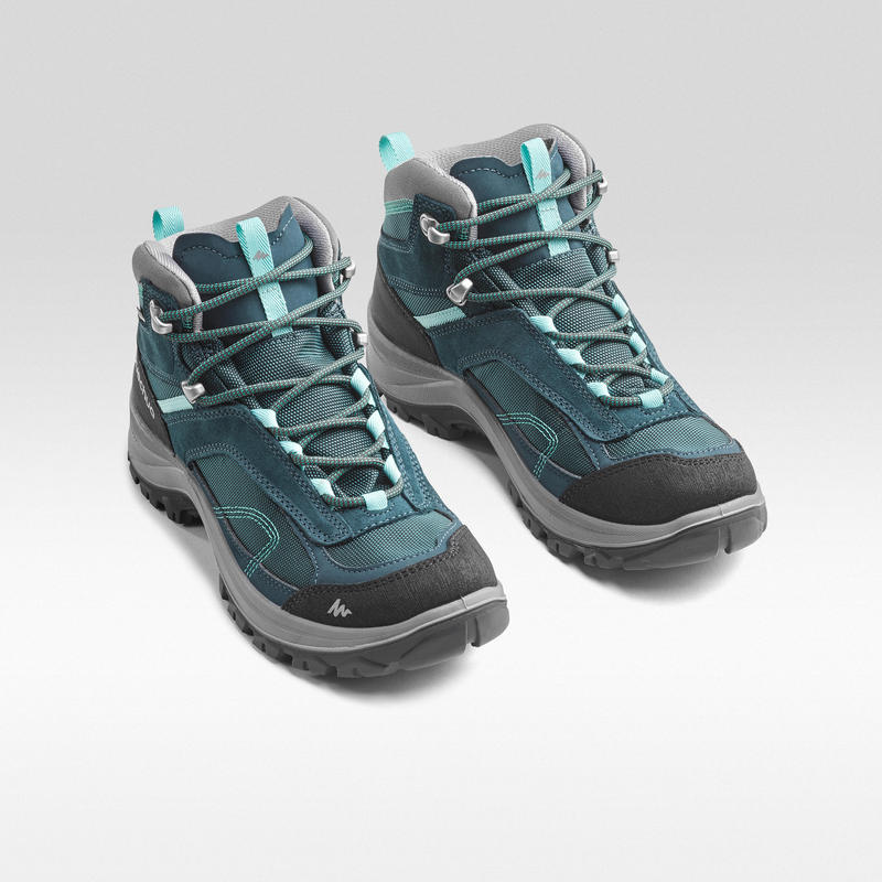 Women's Mountain Hiking Waterproof Shoes MH100 Mid - Turquoise