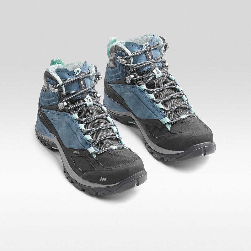 Women's Mountain Hiking waterproof shoes - MH500 Mid - Blue