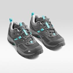 Women's Waterproof Mountain Walking Shoes - MH100 - Grey/Blue