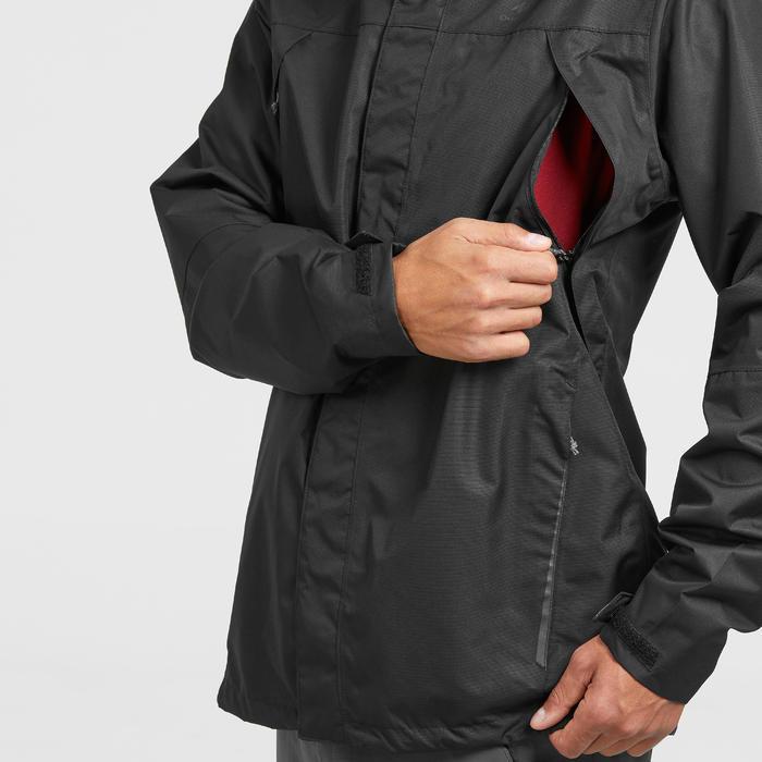 Veste pluie randonnée montagne MH100 imperméable homme Noir