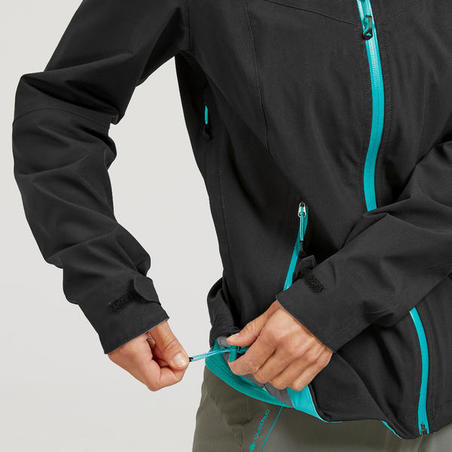 Women's waterproof MH500 mountain hiking jacket - Black