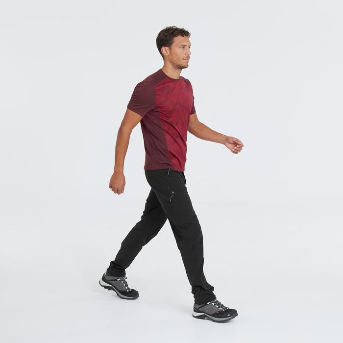 男款登山健行短袖T恤MH500-酒紅色印花