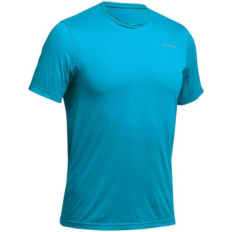 MEN MOUNTAIN HIKING TEE SHIRTS, PANTS Hiking - M T-Shirt MH100 - Turquoise QUECHUA - Hiking Clothes