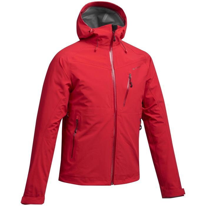 男款登山健行防雨外套MH500-紅色