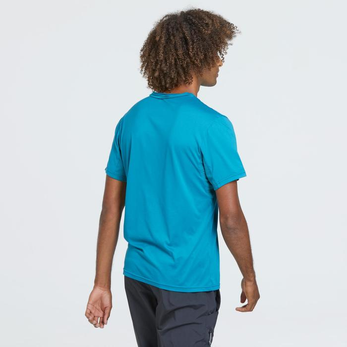 Men's Mountain Walking Short-Sleeved T-Shirt MH100 - Turquoise