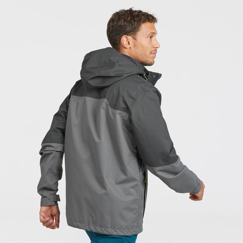 เสื้อแจ็คเก็ตผู้ชายมีคุณสมบัติกันน้ำสำหรับใส่เดินป่าบนภูเขารุ่น MH100