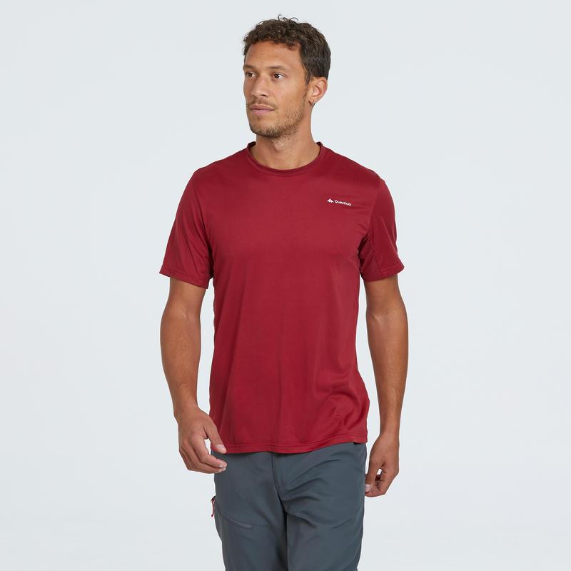 Camiseta de senderismo montaña MH100 manga corta hombre rojo