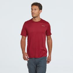 Heren T-shirt MH100 met korte mouwen voor bergwandelen rood