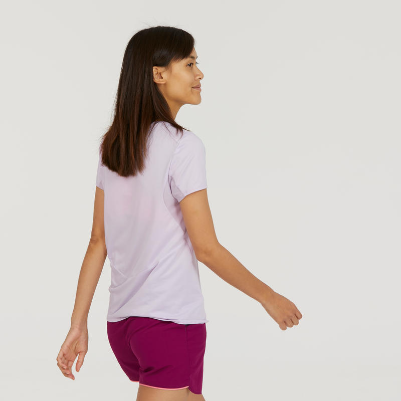 Camiseta manga corta de senderismo montaña Mujer MH100 Malva
