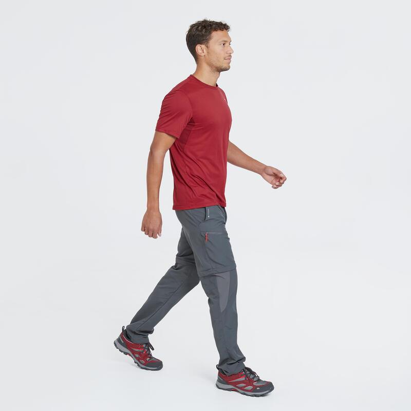 Men's Mountain Walking Short-Sleeved T-Shirt MH100 - Red