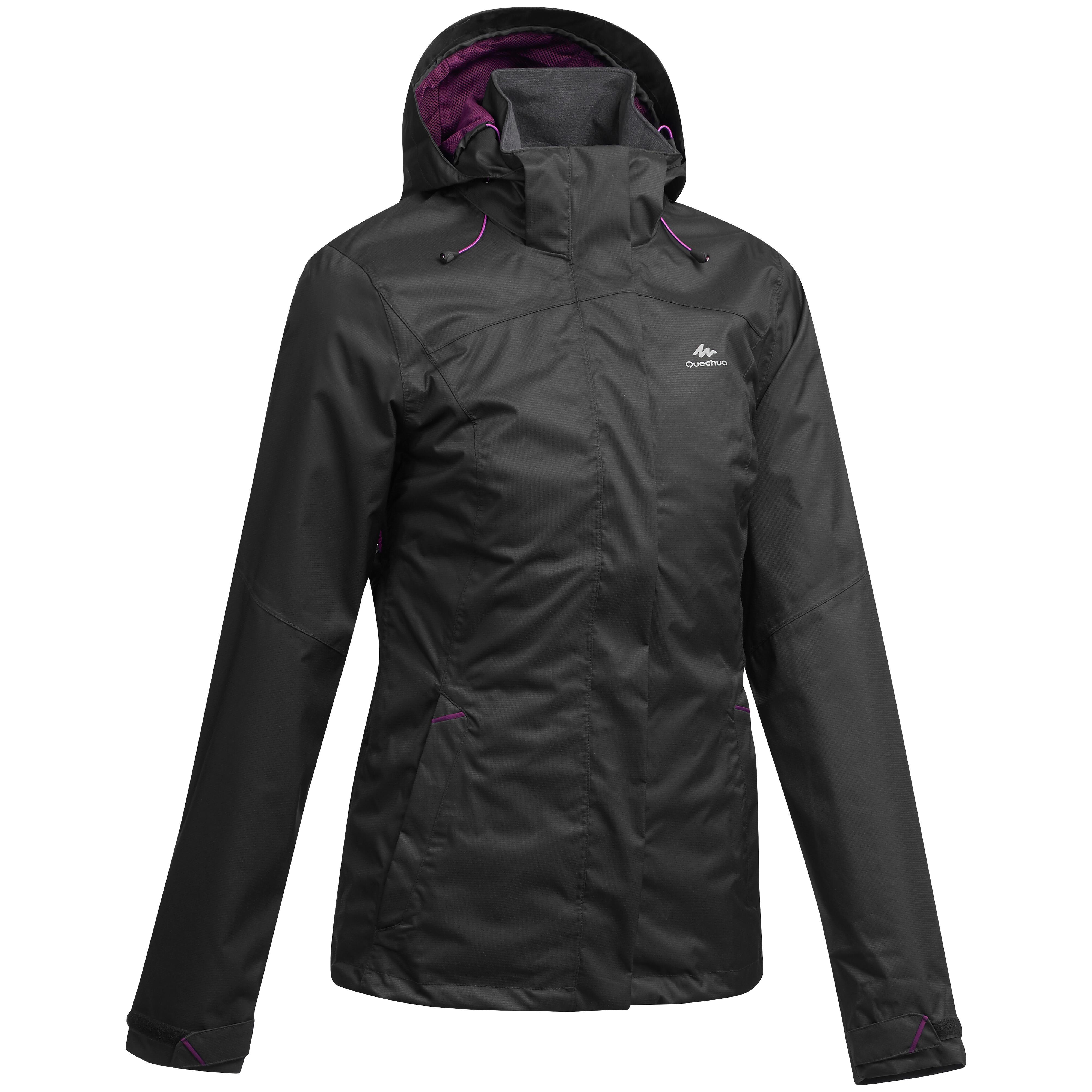 Wanderjacke Bergwandern MH100 wasserdicht Damen schwarz   Sportbekleidung > Sportjacken > Outdoorjacken   Schwarz - Violett   Quechua
