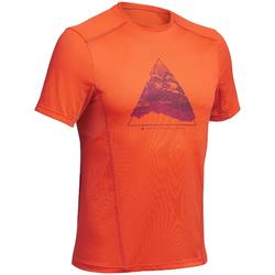 Camiseta de senderismo montaña MH500 manga corta hombre naranja estampado