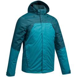 Veste pluie randonnée montagne MH100 imperméable homme Bleu Turquoise