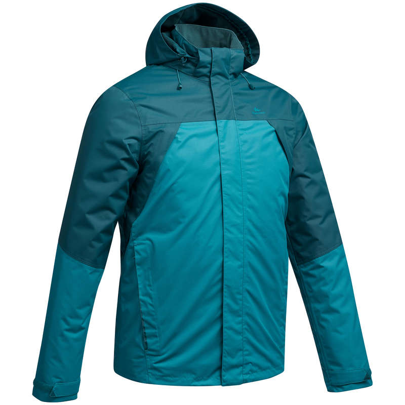 MEN MOUNTAIN HIKING JACKETS Hiking - Jacket MH 100 H Blue Turquoise QUECHUA - Hiking Jackets