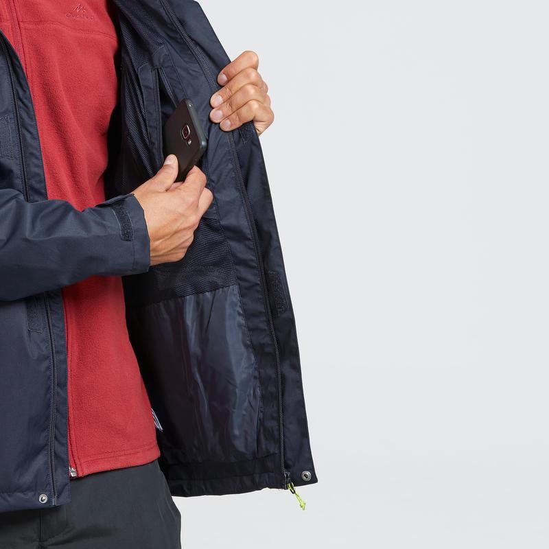 MH100 Men's Waterproof Mountain Hiking Rain Jacket - Blue