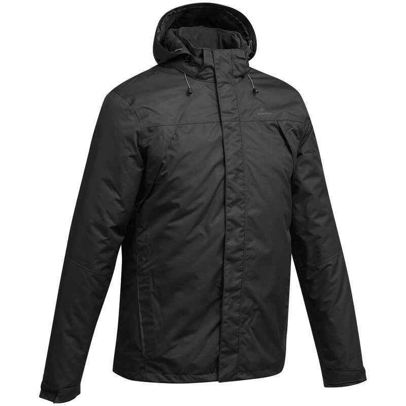 MEN MOUNTAIN HIKING JACKETS Hiking - MH100 Men's Waterproof Jacket - Black QUECHUA - Hiking Jackets