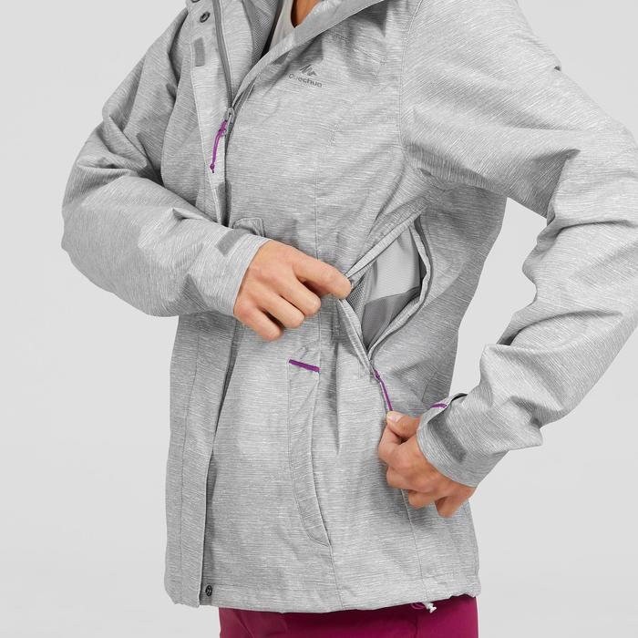 Regenjas voor bergwandelen dames MH100 gechineerd grijs