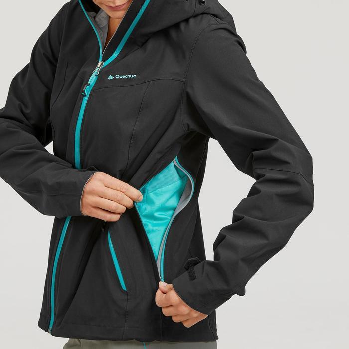 Chaqueta impermeable de senderismo montaña mujer MH500 Negro