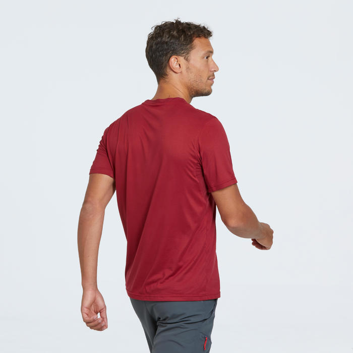 T-shirt voor bergwandelen heren MH100 rood