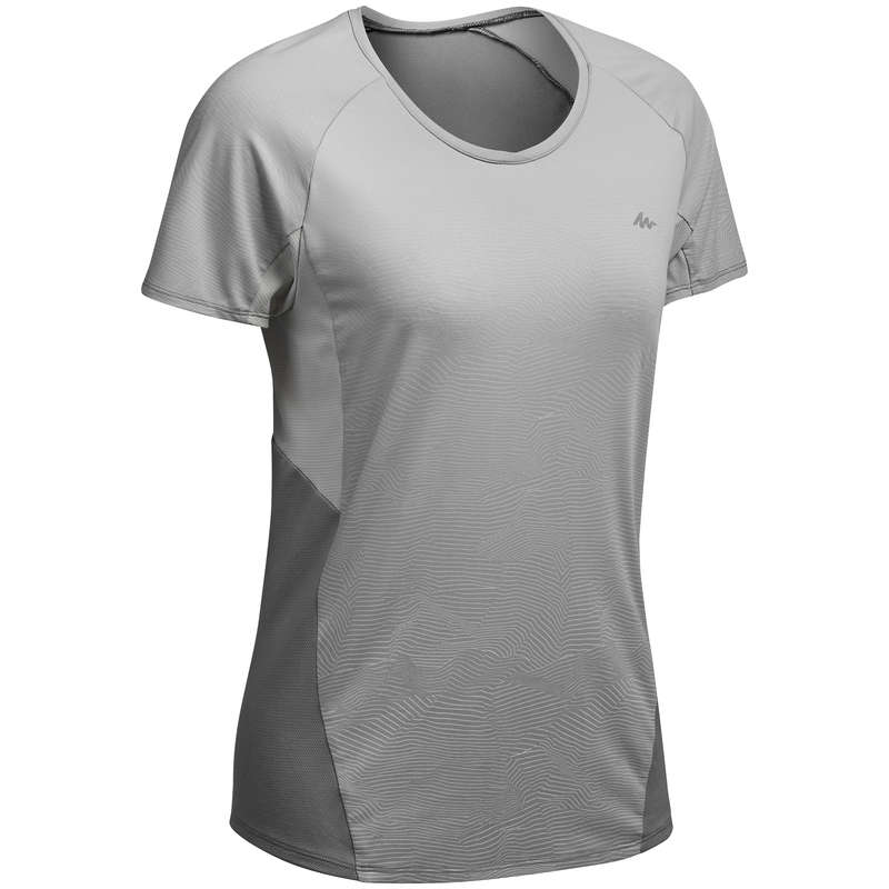 WOMEN MOUNT HIKING TEE SHIRTS, PANTS Hiking - WOMEN'S MH500 T/S - GREY QUECHUA - Hiking Clothes