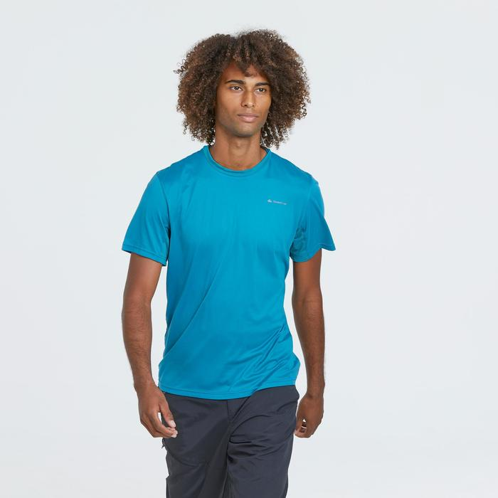 Camiseta de senderismo montaña MH100 manga corta azul turquesa