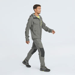 MH500 Men's Waterproof Mountain Hiking Rain Jacket - Grey Khaki