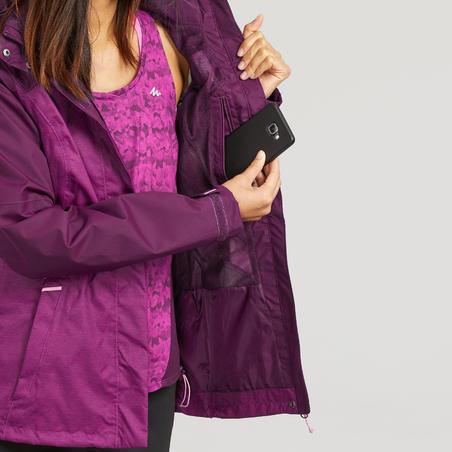 Jaket marl hiking gunung tahan air MH100 wanita - Plum