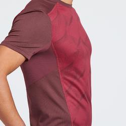 Tee Shirt de randonnée montagne MH500 manches courtes homme bordeaux print