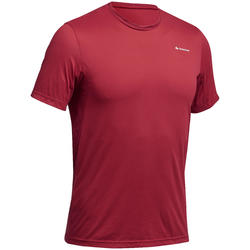 Camiseta de senderismo de montaña MH100 manga corta hombre rojo