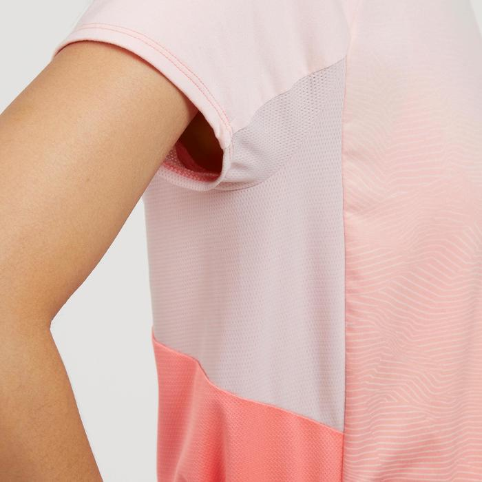 Dames T-shirt met korte mouwen voor bergwandelen MH500 zalmroze